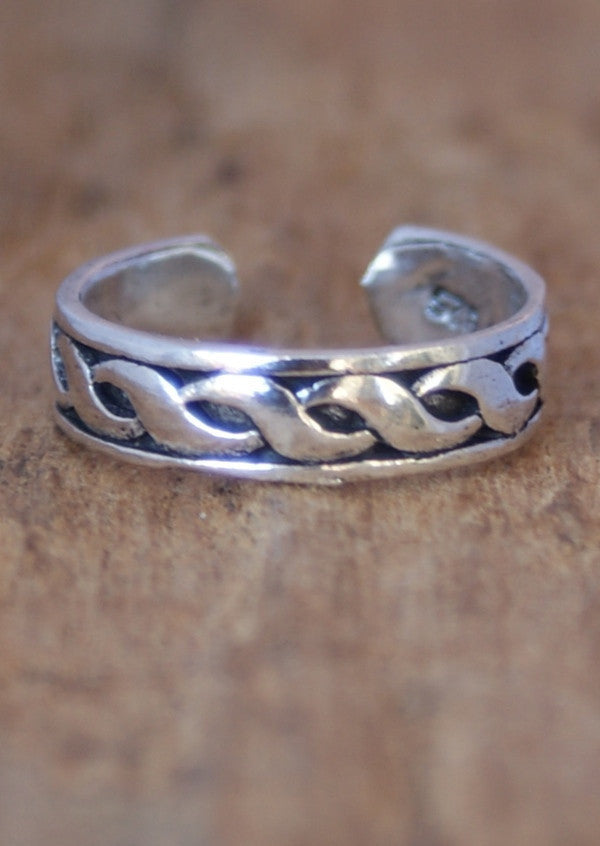Silver Plaits Toe Ring