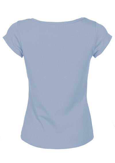 V-neck Stretch Cotton T-shirt Powder Blue
