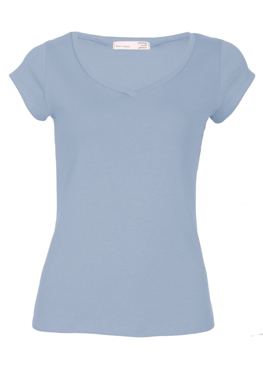 V-neck Stretch Cotton T-shirt Powder Blue | Karma East Australia