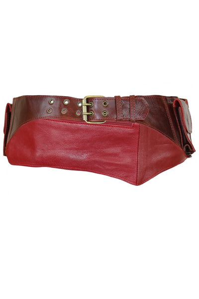 Leather Festival Belt Red
