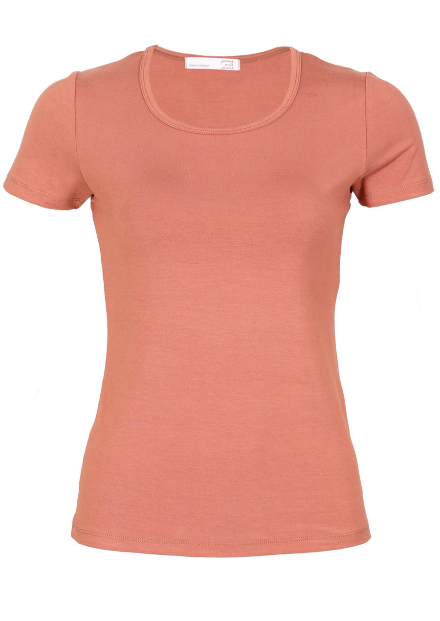 Scoop Neck T-Shirt Salmon