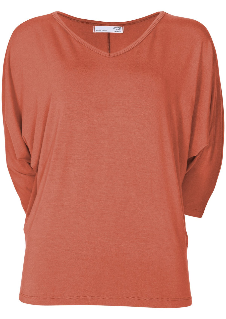 3/4 Sleeve V-neck Batwing Top Salmon