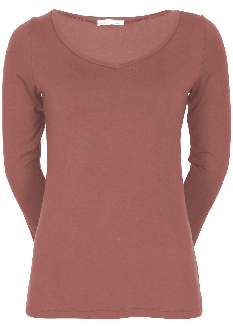 Long Sleeve Stretch V-neck Top Terracotta