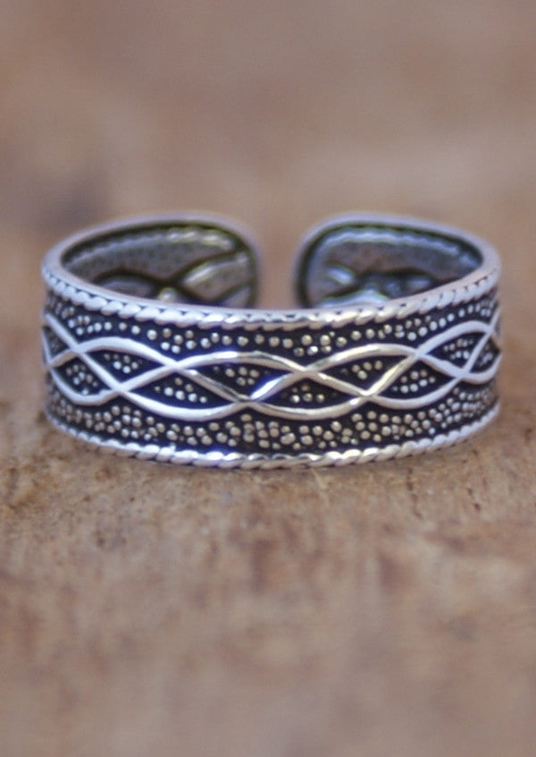 Silver Celtic Plait Toe Ring