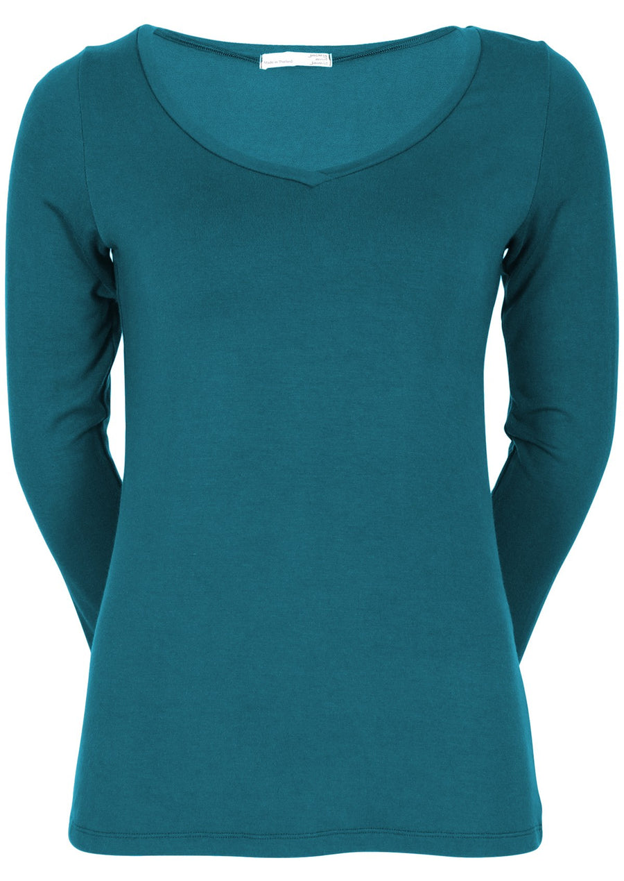 Long Sleeve Stretch V-neck Top Teal