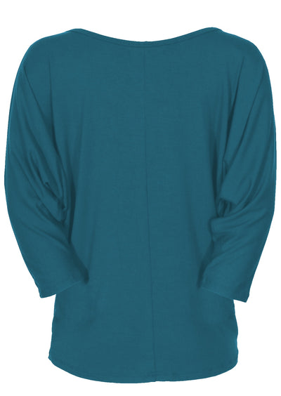3/4 Sleeve Batwing Top Teal