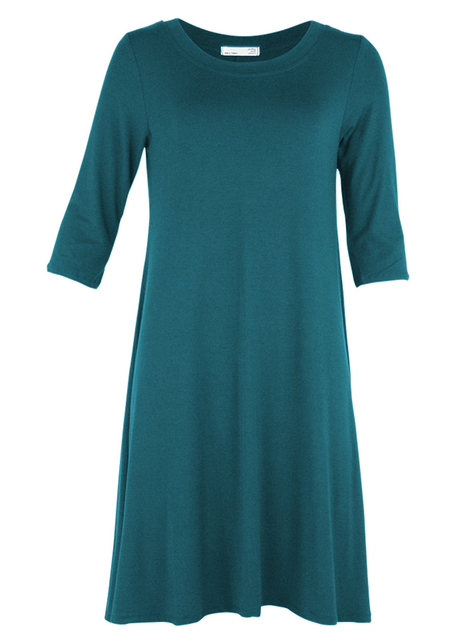 Half Sleeve Jersey Dress Teal