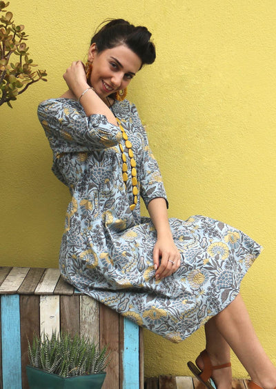 Knee Length Cotton Dress with Pockets Blue Dahlia | Karma East Australia