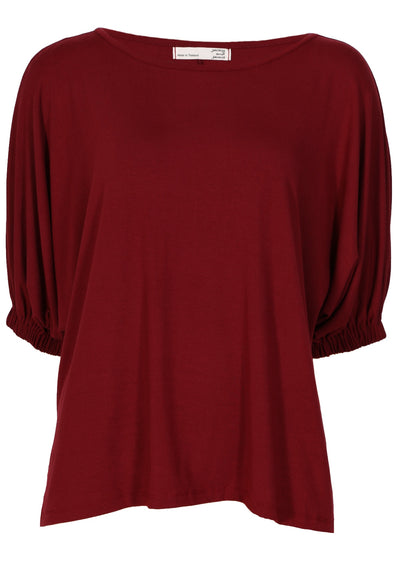 Elasticated Sleeve Top Maroon