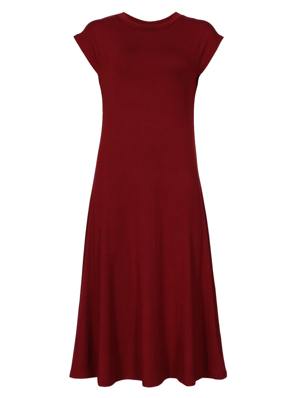 Womens Dresses Maroon Stretch Fabric | Karma East Australia