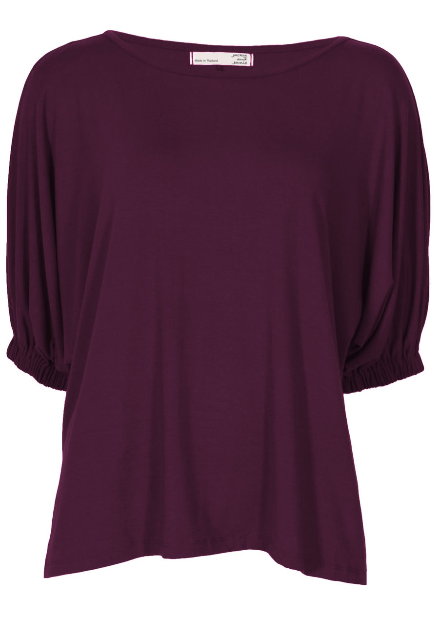 Elasticated Sleeve Top Aubergine