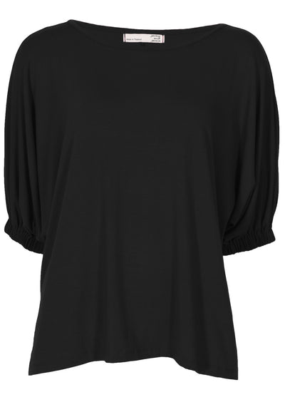 Elasticated Sleeve Top Black