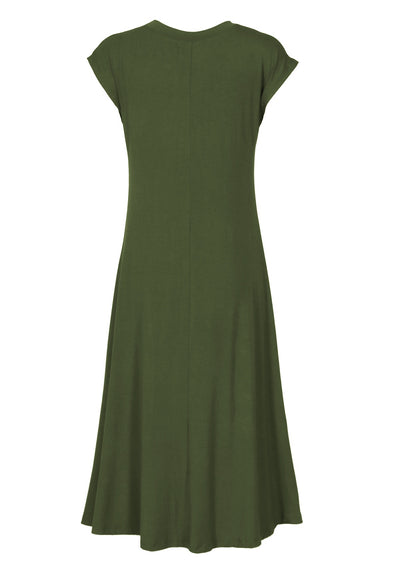 A-line Stretch Rayon Dress Olive