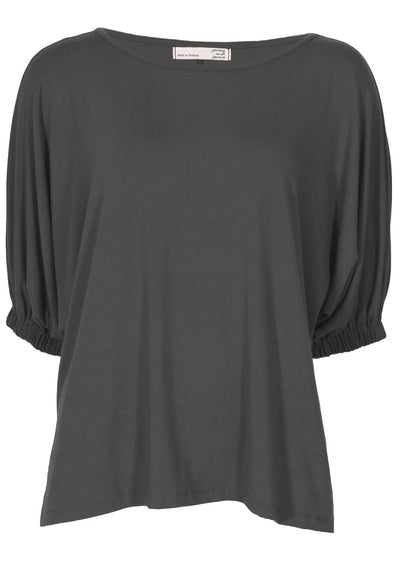 Elasticated Sleeve Top Grey