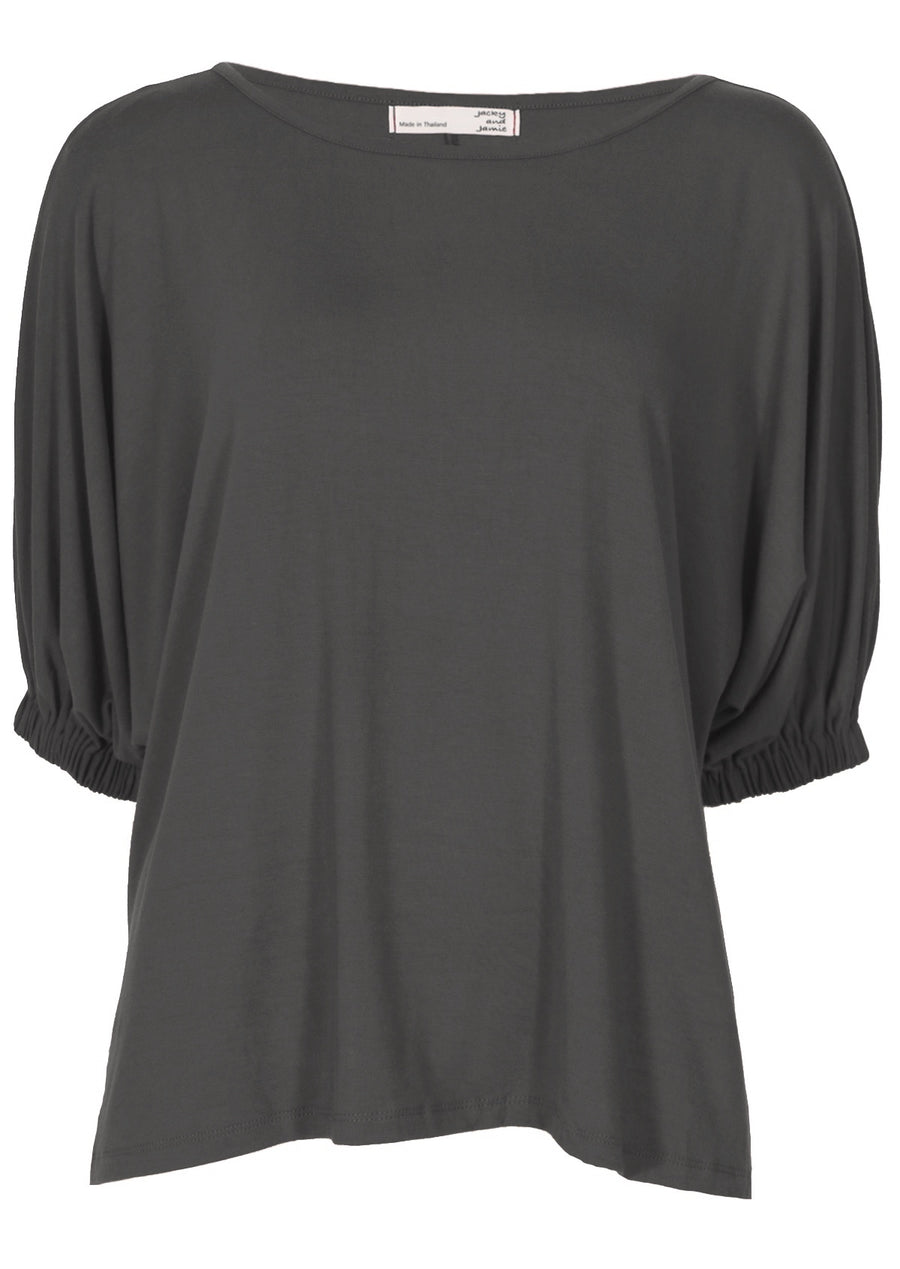 Elasticated Sleeve Top Dark Grey