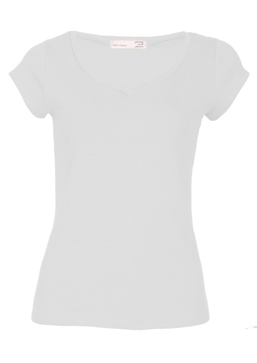 V-neck Stretch Cotton T-shirt White | Karma East Australia