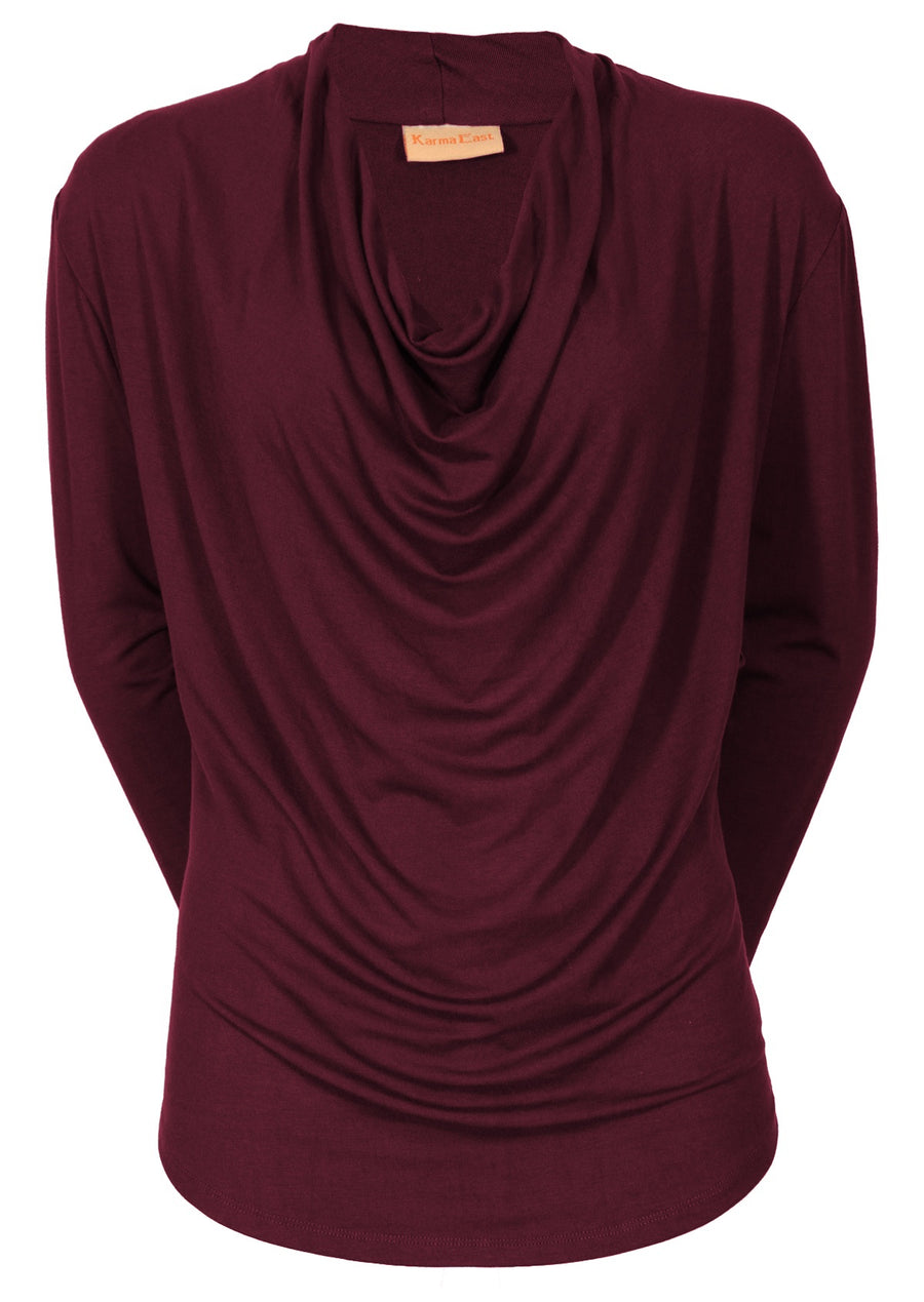 Long Sleeve Cowl Neck Top Wine