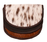 Brown-White Leather Coin Purse HF01
