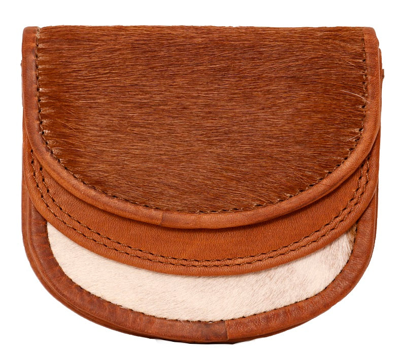 HF01 TAN-WHITE COIN PURSE LEATHER