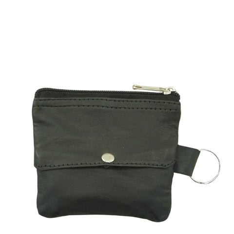 KC02 | Black Sheepskin Coin Pouch with Key Ring ash-cenzoni.myshopify.com