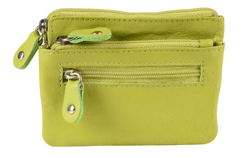 KCCP382 GREEN LEATHER COIN PURSE
