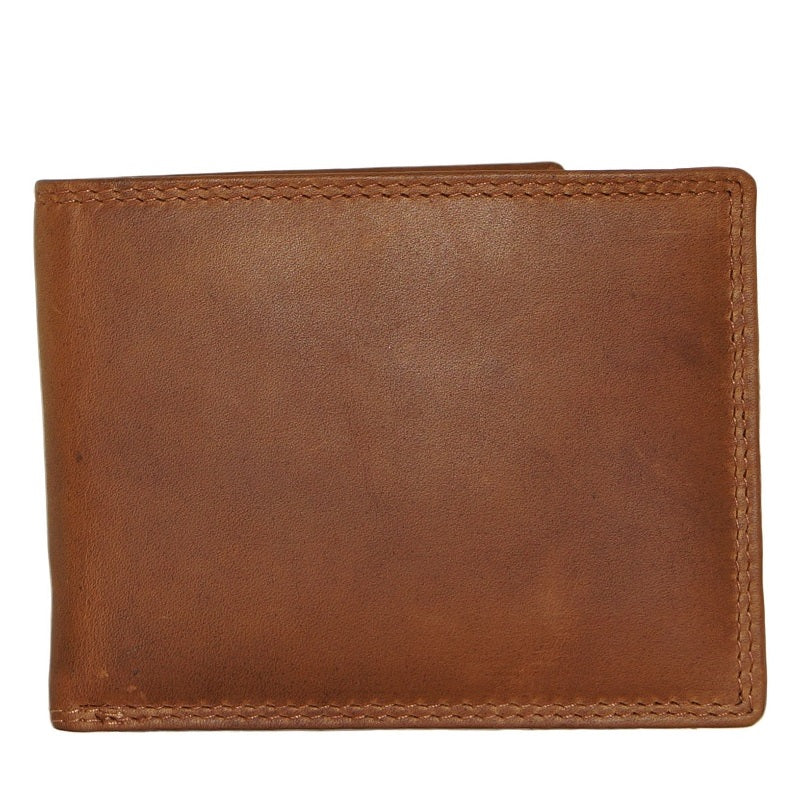 Men's Wallet slim leather tan front facing