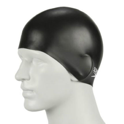 Speedo Plain Moulded Silicone Swim Cap Black
