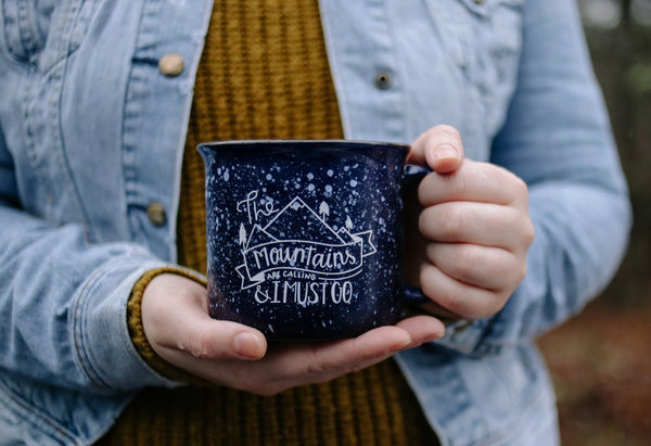 The Mountains Are Calling & I Must Go | Campfire Speckled Mug | Navy Speckled Mug | Campfire Mug