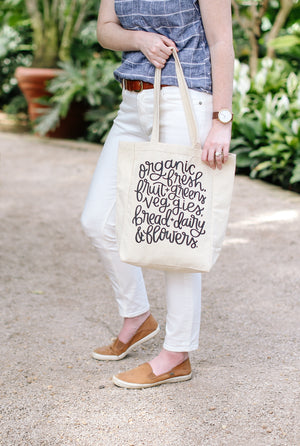 Organic Grocery List | Canvas Tote Bag - Rosalynne Love