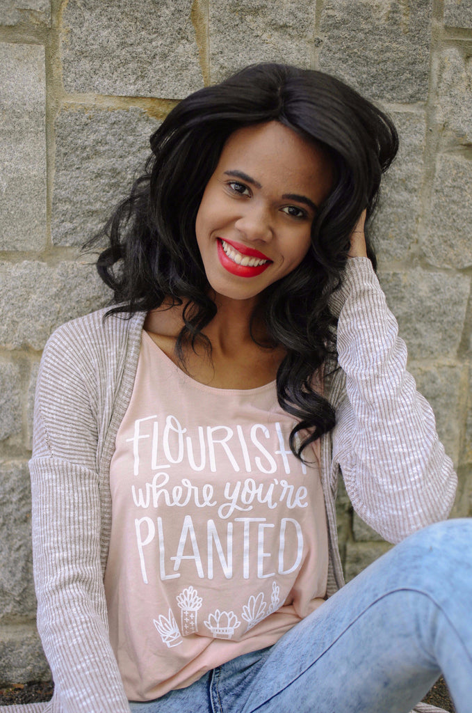 """Flourish Where You're Planted"" Tank - Rosalynne Love"