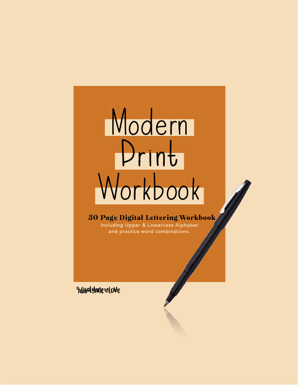 Modern Print - Digital Lettering Workbook - Rosalynne Love
