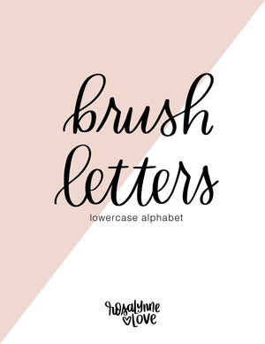 Brush Lettering Worksheets | Lower Case Alphabet | Digital Download - Rosalynne Love