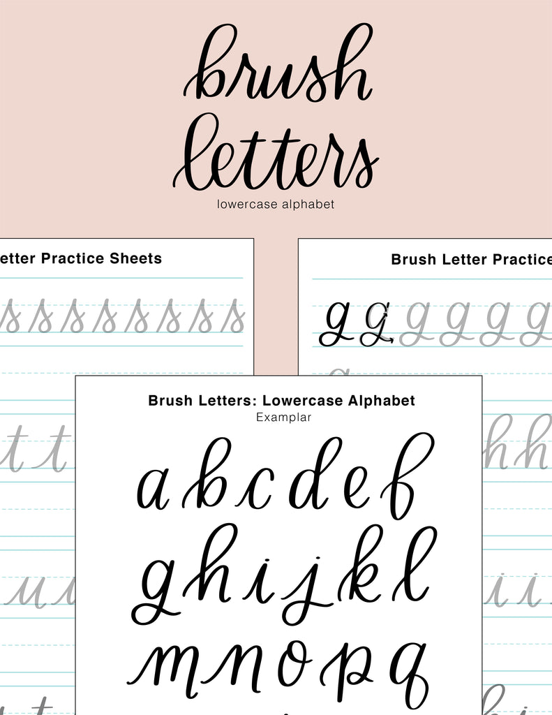 Brush Lettering Worksheets | Lower Case Alphabet | Digital Download