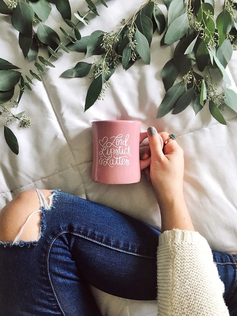 Lord, Lipstick and Lattes | Diner Mug - Rosalynne Love