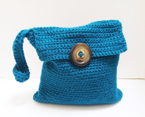 Blue Handle Button Purse