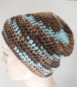 Brown and Blue Swirl Beanie