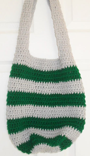 Gray and Green Boho Bag