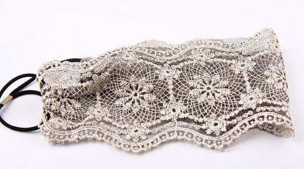 Women Hair Accessories Lace Headband Retro Hair Band Wide Headwraps Accessories #LWN