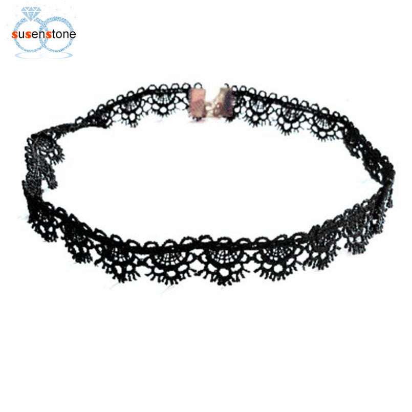 SUSENSTONE Fashion Choker Necklaces For Women Fashion Laciness Polyster Statement Necklaces Collares Love Necklaces 2016