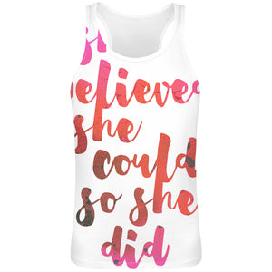She Believed She Could So She Did Sublimation Tank Top T-Shirt For Men - 100% Soft Polyester - All-Over Printing - Custom Printed Mens Clothing
