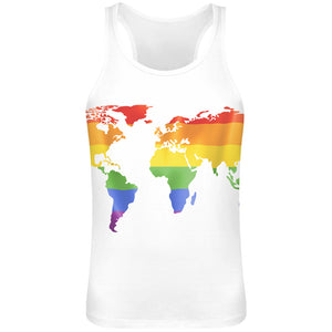 World Map Sublimation Tank Top T-Shirt For Men - 100% Soft Polyester - All-Over Printing - Custom Printed Mens Clothing