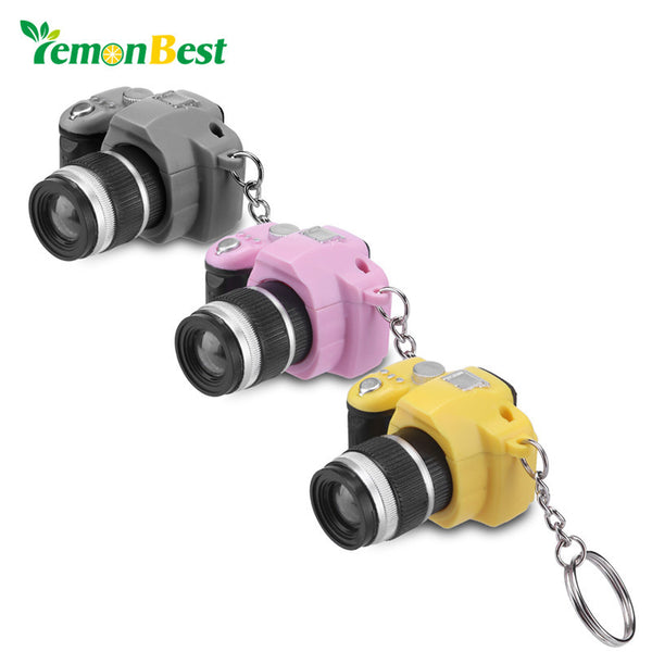 LemonBest Creative Camera Shape Led Keychains With Sound LED Flashlight Key Chain Fancy Toy Key Ring Amazing Gift Keychain Party