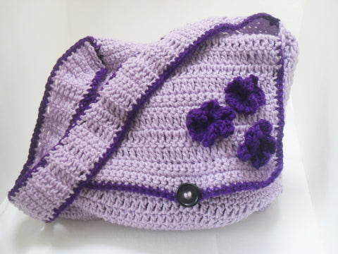 Purple Flower Shoulder Bag