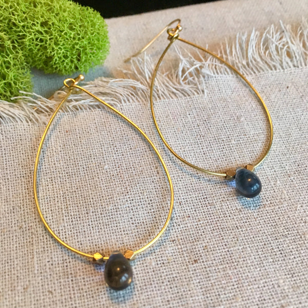 Amara Brass Raindrop Earrings