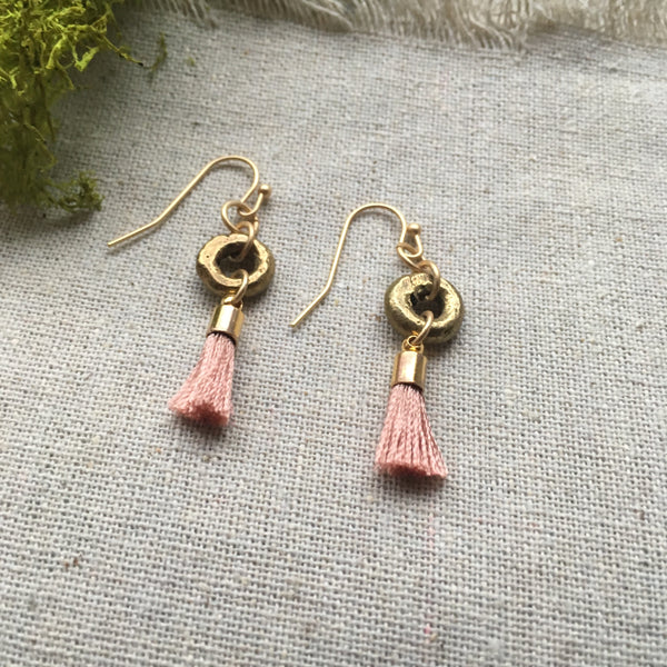 Amara Brass Tassel Earrings