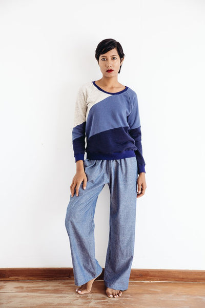 Tonle Pieced Sweatshirt - Blue