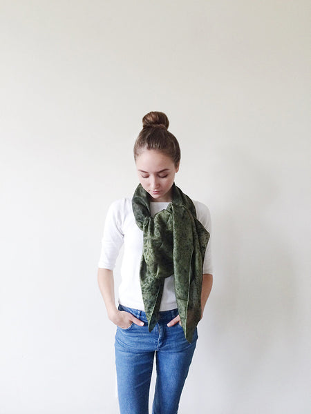 Fine Silk Black Speckled Flaco Scarf - Green or Gray