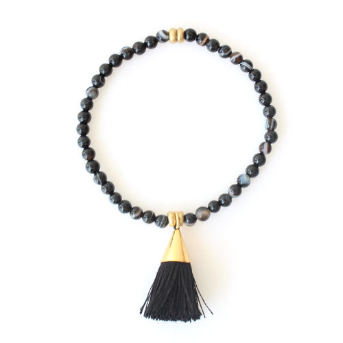 Black Cambodian Tassel Bracelet - Black or Blush