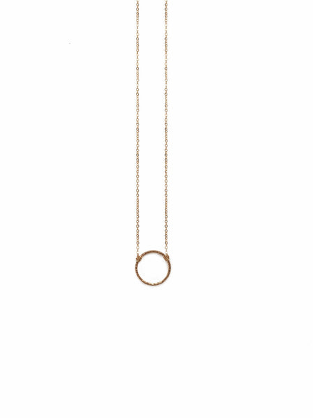 Circle Floating Shape Necklace - Silver