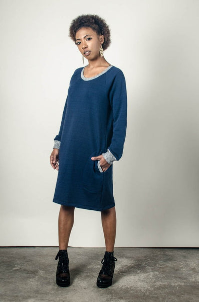 Tonle Sweatshirt Dress - Blue and Grey